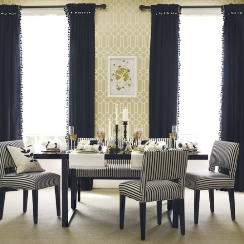 Home makeover dining room chairs slipcovers i for Dining room wallpaper